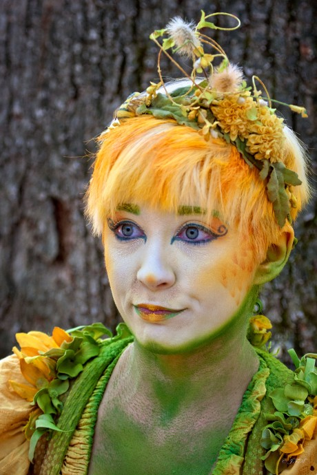 Spring Fairy's yellow and green colors camouflage her to blend with the spring flowers and grasses.
